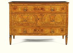 North italian walnut and fruitwood marquetry and parquetry commode emilian late 18th century.