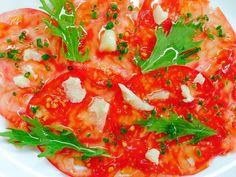 Alain Passard @ArpegeLive Carpaccio de tomate, roquette et parmesan