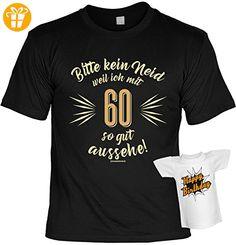 T-Shirt zum Geburtstag - Bitte kein Neid weil ich mit 60 so gut aussehe! - 60. Geburtstag - Im SET mit gratis Mini Shirt - Geschenk - schwarz - T-Shirts mit Spruch   Lustige und coole T-Shirts   Funny T-Shirts (*Partner-Link)