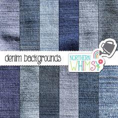 Denim Digital Paper Pack – blue denim textures for digital scrapbooking – blue jean fabric paper – denim backgrounds - commercial use
