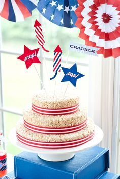 4th of July Rice Krispie cake. Maureen Anders of Anders Ruff.