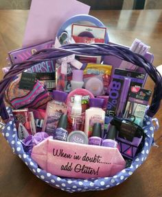 Sweet 16 gift pinteres sweet 16 all purple basket 16th birthday present negle Image collections