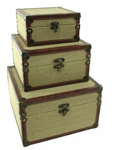 Add an artful touch to your entryway console table or living room mantel with these eye-catching boxes, showcasing burlap upholstery and antique bronze-finis. Storage Sets, Storage Containers, Storage Boxes, Storage Trunk, Alabaster Box, Entryway Console Table, Color Box, Florida Home, Home Accents