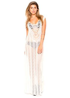 Sheer Crochet Lace Cover Up Maxi Dress Large at Amazon Women's Clothing store: $56