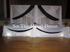 Red White and Black Wedding Decorations | White and Black Wedding Decor lights under the table for illmination