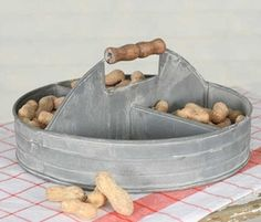 Weathered Galvanized Divided Tray with Wood Handle - Tableware - Serveware - Kitchen & Dining