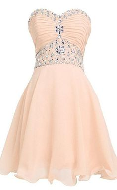 Lovely Short Beading Chiffon Strapless Cute Homecoming Dresses