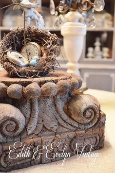 Antique Architectural Salvage Column Capital by edithandevelyn on Etsy