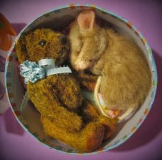 Needle Felted Art by Robin Joy Andreae -- Teddy and His Bear
