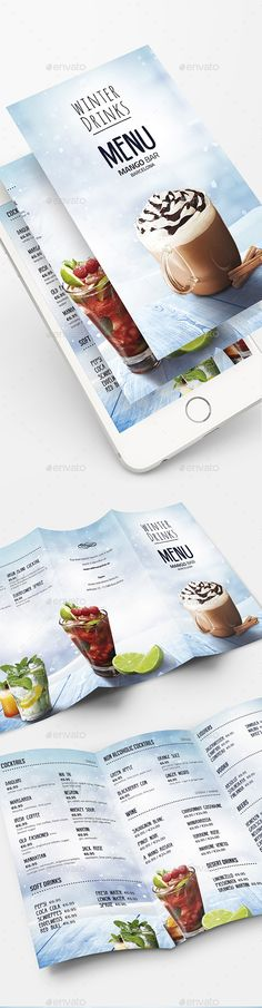Drinks Menu by DusskDesign Drinks Menu 鈥?20This drinks menu template is a tri fold type drink card that is great for any winter drinks menus, such as a mountai