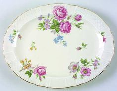 """43"" china pattern with mauve pink roses, purple flowers, & botanical theme from Bernardaud."