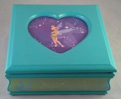 Blue Tinkerbell Upcycled Jewelry Box by JewelryBoxesEtc on Etsy, $28.00