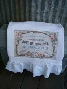 Shabby Chic French Flour Sack Towel with Ruffle by tatteredgoods, $15.50