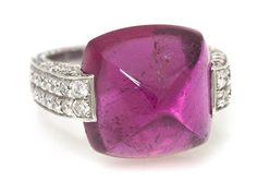 An 18 Karat White Gold, Pink Tourmaline and Diamond Ring, Laura Munder