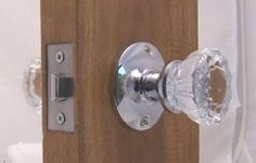 Fluted Crystal Glass & Polished Chrome Passage Door Knob Sets for Modern Doors+includes Our New Secure Set Screw System. Includes hand made wood adapters to fit pre=drilled doors. by Rousso's Reproduction. $49.95. Our original Depression Crystal Passage knobs, perfect Reproductions - 1900s antique knobs, so perfect, they are interchangeable with antique hardware. To fit pre-drilled doors with standard 2-3/8, see attachment. This set will arrive with all the hardware needed to ins...