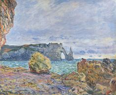Etretat, the Beach and the Porte d'Aval by @claude_monet #impressionism