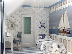 children's room interior in the naval theme