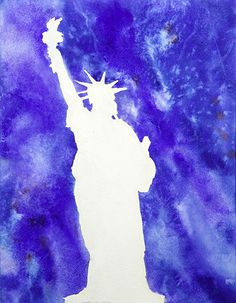 Watercolor painting of the Statue of Liberty on by Liberty Island by Ryan Fox