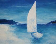 Oil painting Blue Sailboat by Yana Hamlett Wooden by ClosetCat, $100.00