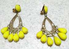 Vintage 60's 70's Bright Yellow Plastic & Gold tone Filigree Dangle Clip Earring