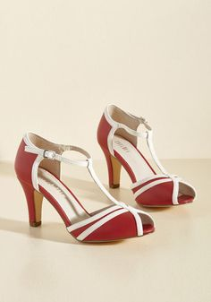 1930s Style Shoes Earn Your Peep Heel in Crimson $69.99 AT vintagedancer.com