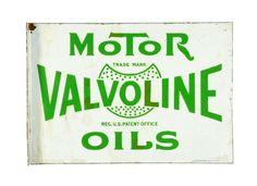 Original Valvoline Motor Oil Porcelain Flange Sign