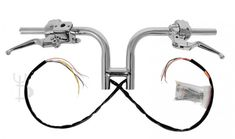 Rise Chrome H Club Drag Bars Handlebars Hand Controls Switches Harley Harley Davidson Handlebars, Ape Hangers, Custom Harleys, Chrome, Club