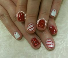Christmas nails. White and red nails. Candy cane nails. #PreciousPhanNails