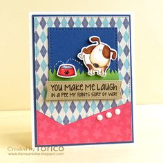 card critters dog dogs MFT basic edges Die-namics argyle pattern patterned paper STAMPARADISE: Naughty or Nice Challenge - Sketch Time! Funny Cards, Cute Cards, Hand Made Greeting Cards, Dog Cards, Mft Stamps, Beautiful Handmade Cards, Animal Cards, I Card, Cardmaking