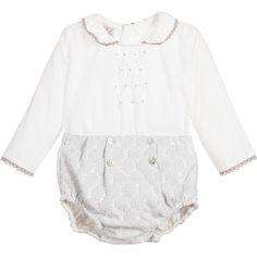 Paz Rodriguez - Baby Grey & Ivory 2 Piece Cotton Shorts Set  | Childrensalon