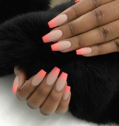 """If you're unfamiliar with nail trends and you hear the words """"coffin nails,"""" what comes to mind? It's not nails with coffins drawn on them. It's long nails with a square tip, and the look has. Neon Nails, Matte Nails, Love Nails, My Nails, Acrylic Ombre Nails, Faded Nails, Coral Nails, Nails 2017, Bright Summer Nails"""