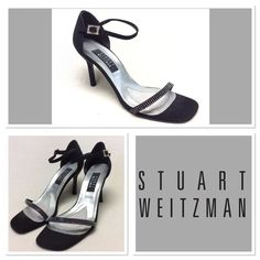"Stuart Weitzman black rhinestone heels size 8B Stuart Weitzman similar to the nudest style Color:black Material: fabric upper, leather sole Details: rhinestone across toe straps, and on ankle buckle Wear: used condition, one loose stone on right shoe, no stones missing, slight discoloration to metal around ankle buckle. See pictures   Heel: 3.5"" stilettos Stuart Weitzman Shoes Heels"
