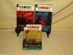 COMBAT EUROPEAN PACIFIC THEATER WAR JAPAN SET 3 DON CONGDON PB DELL 1950-60'S FE