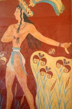 Ancient Minoan Art we can see loin clothe and long hair on man with curls and decorative head dress