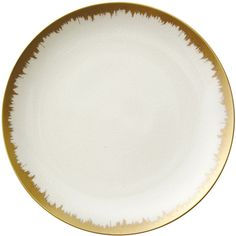 Kim Seybert Opal Golden Brushstroke Dinner Plate (130 CAD) ❤ liked on Polyvore featuring home, kitchen & dining, dinnerware, cream, handmade dinnerware, cream dinnerware, porcelain dinnerware, ivory dinnerware and porcelain dinner plates