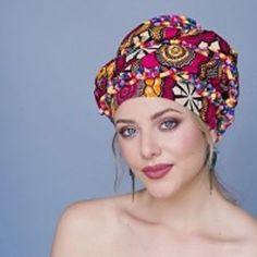 14979e439be African Wax Print Turban Head Wrap Red Creme Black Chemo Hair Loss
