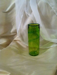 Lime Green Hand Blown Glass Vase With Spiral by MoltenColor, $30.00