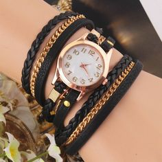Black Multilayer Faux Leather Strap Band Women Bracelet Quartz Wrist Watch df45b188bf