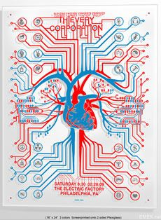 """Thievery Corporation """"Electric Heart"""" screen print poster on Plexi- glass by EMEK"""