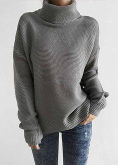 $42.99 Chicnico Fashion Casual Solid Color Turtleneck Sweater