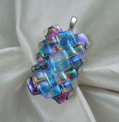 Dichroic Fused Glass Pendant  Dichroic Glass by GalaxyGlassStudio, $22.00