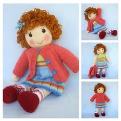 * * Written in ENGLISH * * BELINDA JANE - measures 45 cm (18 in) Pattern contains instructions for the BELINDA JANE doll who wears a pretty cardigan over a sleeveless top and skirt. All items of clothing except shoes can be removed NEEDLES: knitted on two straight 3.25 mm needles (US 3)