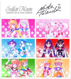 Naoko Takeuchi Sailor Moon manganese inner senchi concept and final version Sailor Moon Fan Art, Sailor Moon Character, Sailor Moon Manga, Sailor Moon Crystal, Sailor Jupiter, Sailor Venus, Sailor Mars, Moon Sketches, Hiro Big Hero 6