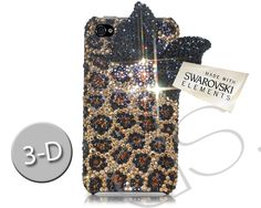Black Ribbon 3D Swarovski Crystal iPhone 6 Plus Case - Leopardo  (5.5 inches)