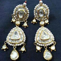 Uncut diamond and pearl earrings