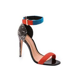 @Who What Wear - The colorful straps and lizard heel on these sandals would add pop to a pair of tuxedo pants.     Schutz Enyd Ankle Strap Sandals ($200) in Fluoro/Carbon/Natural