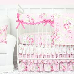 Caden Lane Shabby Chic Pink Ruffle Baby Bedding-Designing a shabby chic style nursery? Our brand NEW pink shabby chic baby girl bedding set adds the perfect sweet touch with a combination of floral print fabrics. set includes sheet and skirt. Shabby Chic Quilts, Shabby Chic Baby, Nursery Bedding Sets Girl, Baby Crib Bedding, Chic Nursery, Nursery Crib, Nursery Decor, Room Decor, Girl Cribs