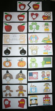 Monthly Clock Cards - Pinned by @PediaStaff – Please Visit  ht.ly/63sNt for all our pediatric therapy pins
