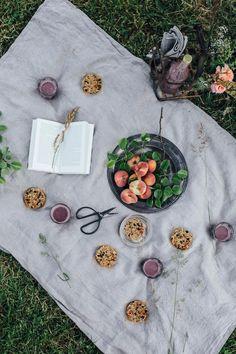 glutenfree round superfood granola bars and an aronia-peach smoothie