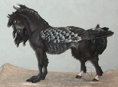 Breyer rabicano hippogryph commission :} This is Eternal Chaos, done from the Breyer Spirit mold. He's supposed to be the leader of the herd Done for the same person who bought my Tricked Out Pony . Magical Creatures, Fantasy Creatures, Bryer Horses, Sculptures, Lion Sculpture, Feather Painting, Animal Decor, Medieval Art, Art Model